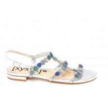 Sandale mit blau-silberfarbenen & türkis steinen