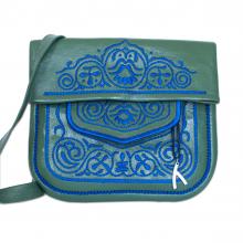 Berber Umhängetasche aus Leder in grün und blau