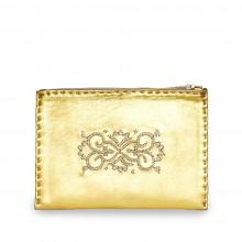 Abury bestickte Puch aus Leder in Gold und Beige
