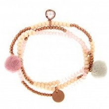 Stretcharmband Beads and Charms, rose, vergoldet von sweet de Luxe