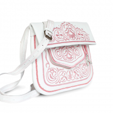 ABURY Berber Umhängetasche aus Leder in Weiß und Rosa