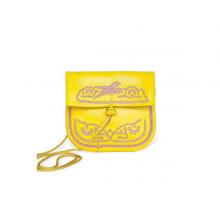 Abury Mini Umhängetasche aus Leder in gelb
